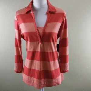 IZOD Orange Striped Layer Look Top L NWT